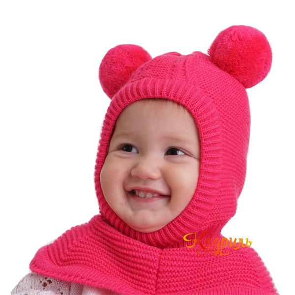Шапка детская вязаная с помпонами. Рис. 3