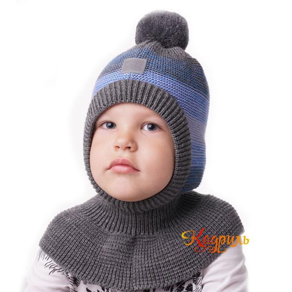 Шапка капор для мальчика с помпоном. Рис. 2