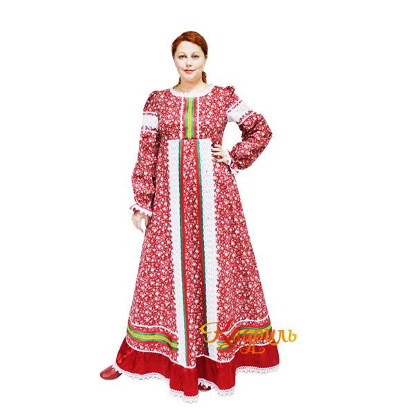 Платье народное в цветок. Рис. 1