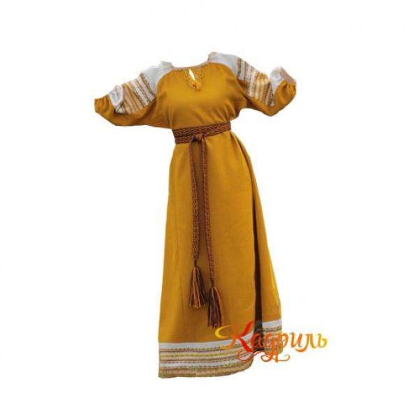 Платье славянское Аделя горчичное. Рис. 1