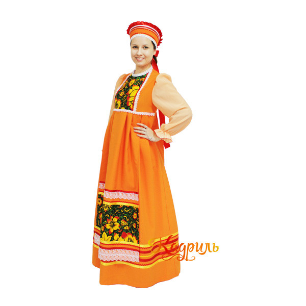 Русский народный костюм оранжевый. Рис. 1