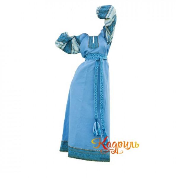Платье славянское Ася голубое. Рис. 1