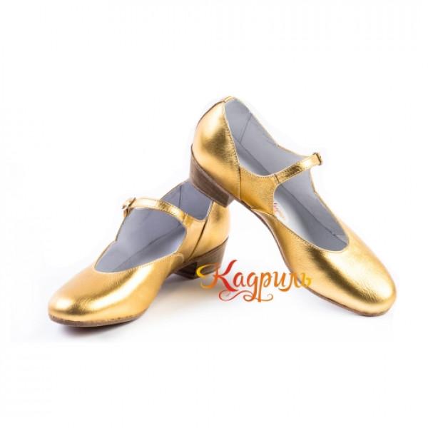 Туфли женские для народно характерного танца золото. Рис. 1
