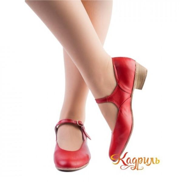 Туфли народные красные. Рис. 1