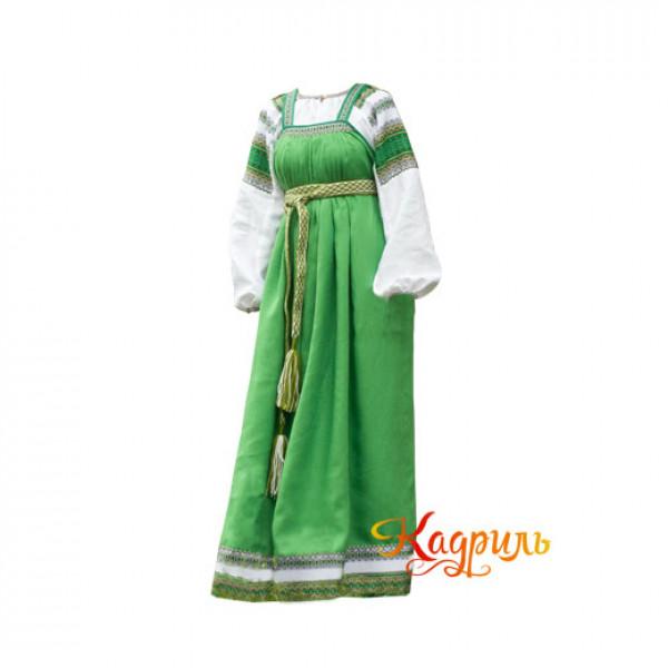 Костюм славянский Велена светло-зелёный. Рис. 1