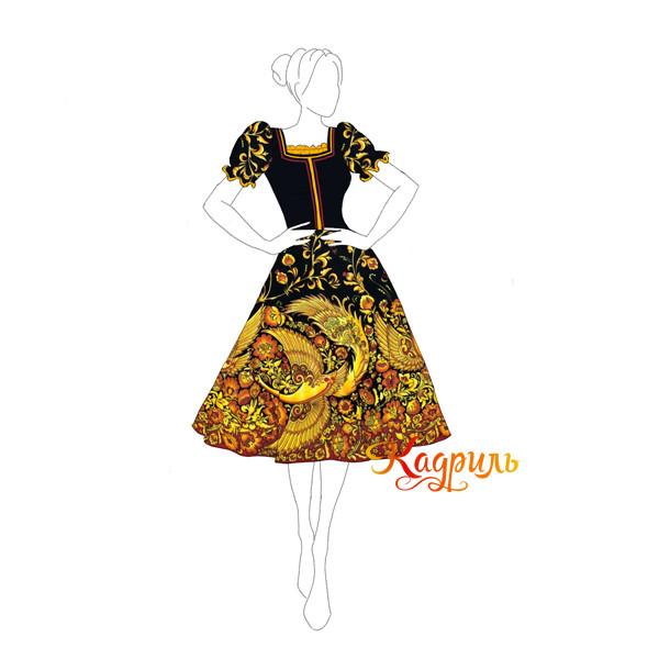 Платье народное с жар-птицей