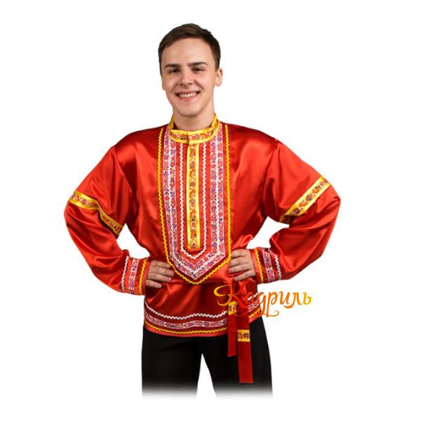 Рубашка народная красная. Рис. 1