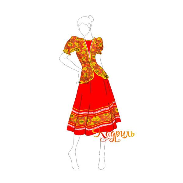 Русское народное платье красное. Рис. 1