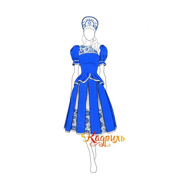 Русский народный костюм гжель. Рис. 1