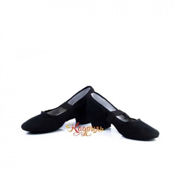 Туфли народные тканевые чёрные 1. Рис. 1
