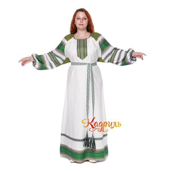 Платье славянское Ася зелёно-белое. Рис. 2