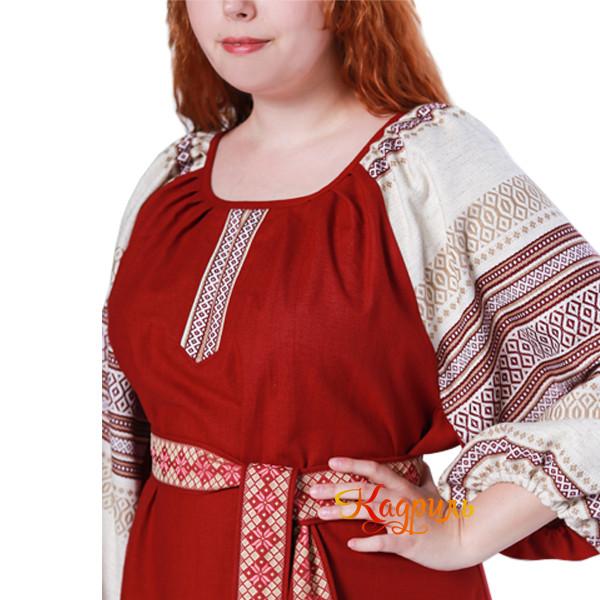 Платье славянское Аделя вишневое. Рис. 4