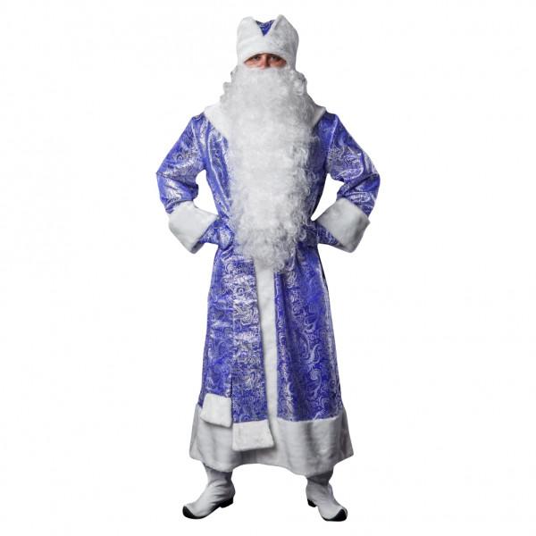 Костюм Деда Мороза синий из парчи. Рис. 1