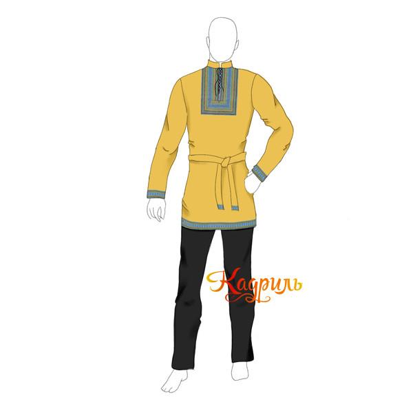 Рубашка славянская мужская желтая. Рис. 1