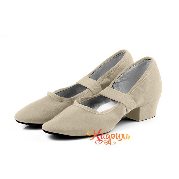 Туфли для танца народные тканевые телесного цвета 1