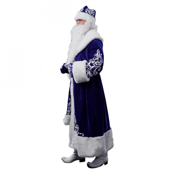 Костюм Деда Мороза из велюра синий. Рис. 2