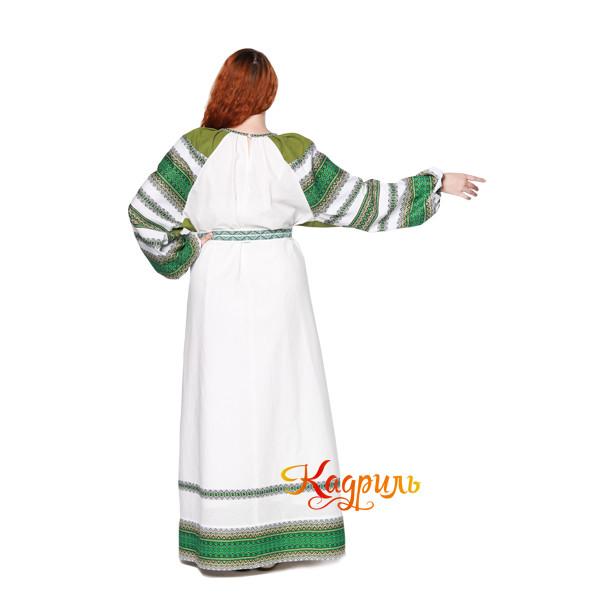 Платье славянское Ася зелёно-белое. Рис. 3