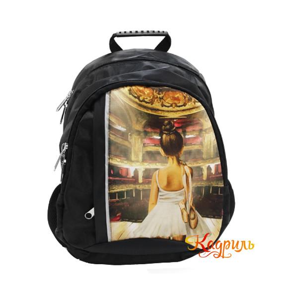 Детский черный рюкзак с балериной. Рис. 1