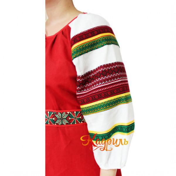 Платье славянское Ася ярко-красное. Рис. 2