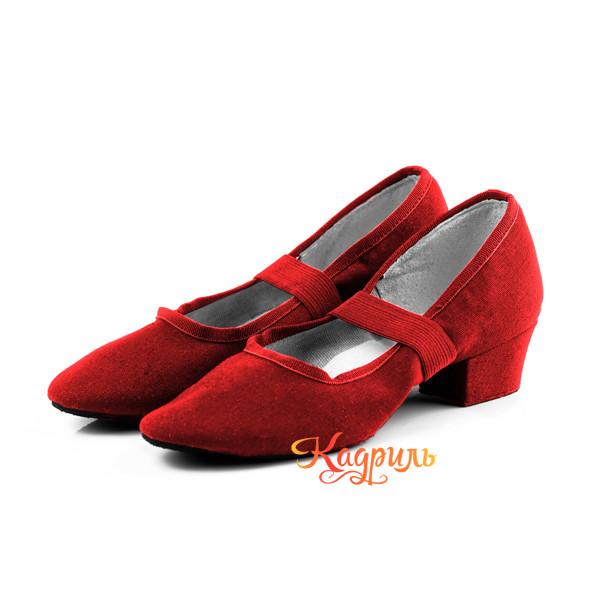 Туфли народные тканевые красные 1. Рис. 1