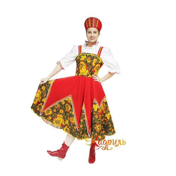 Русский народный костюм с цветами. Рис. 1
