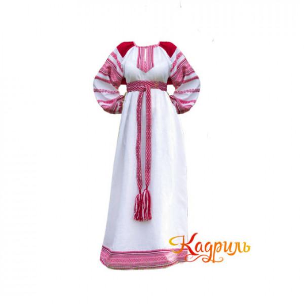Платье славянское Ася бело-красное. Рис. 1