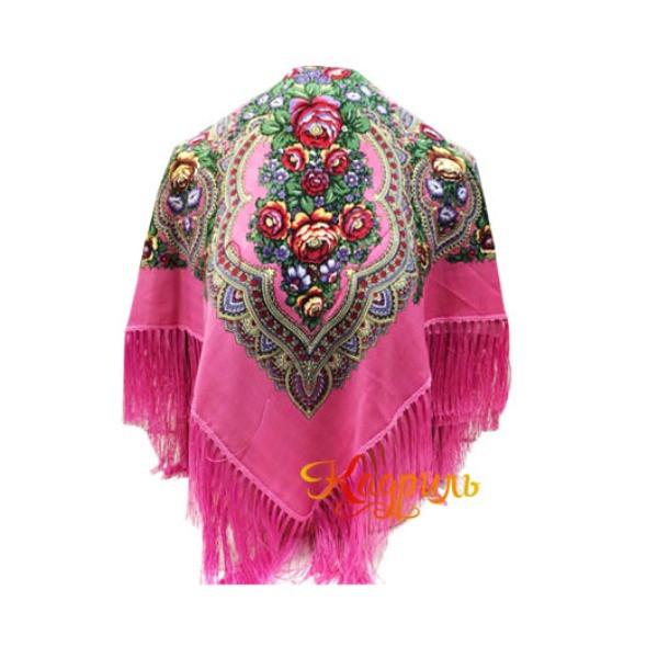 Платок с бахромой розовый. Рис. 1