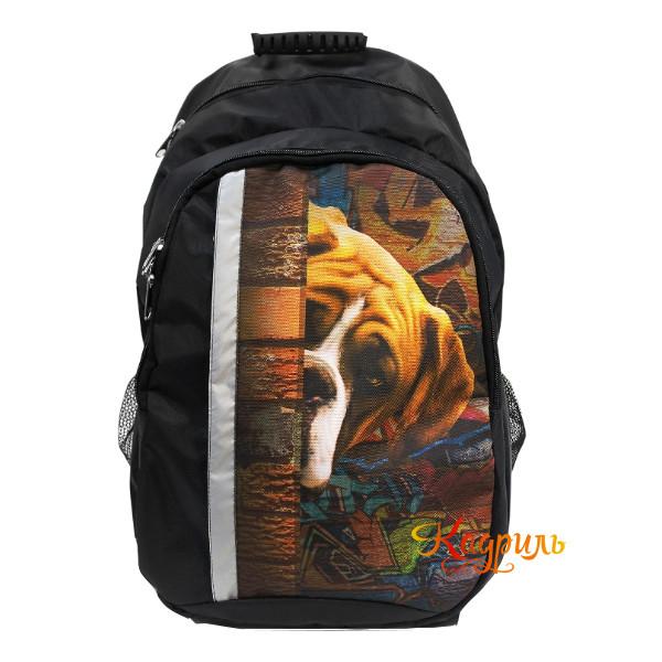 Черный рюкзак с рисунком для мальчиков. Рис. 1