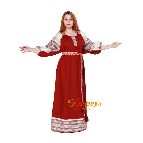 Платье славянское Аделя вишневое. Рис. 2