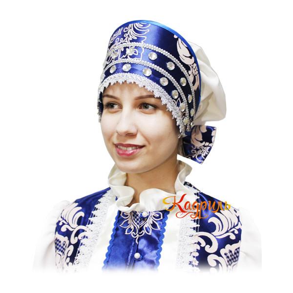 Русский народный костюм бежево-синий. Рис. 3
