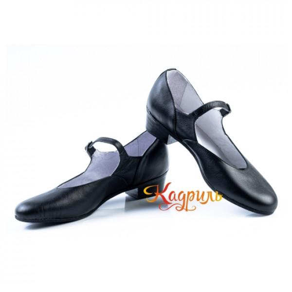 Туфли женские для народно характерного танца чёрные. Рис. 1