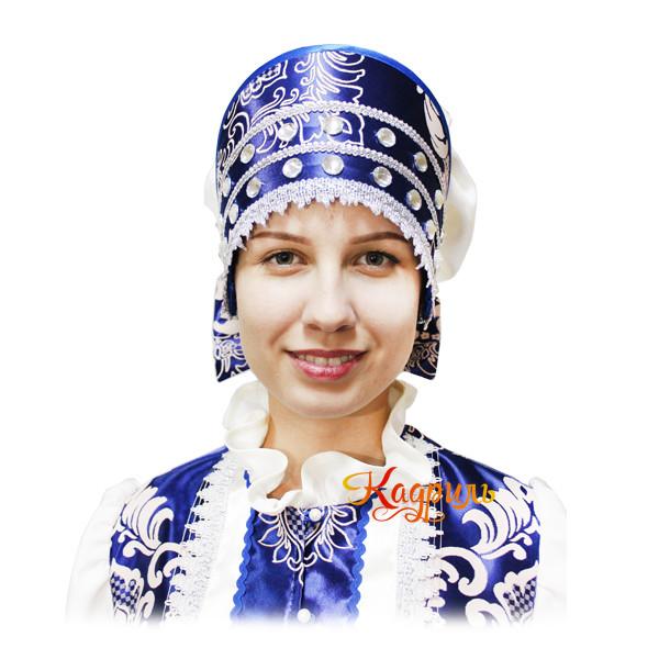 Русский народный костюм бежево-синий. Рис. 4