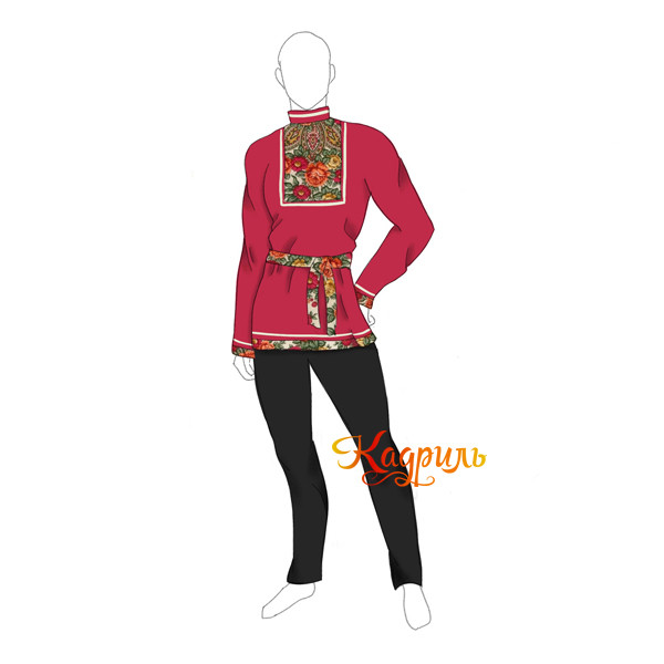Рубашка с русским народным платком. Рис. 1