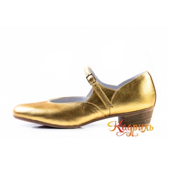 Туфли на девочку для народно характерного танца золото. Рис. 1