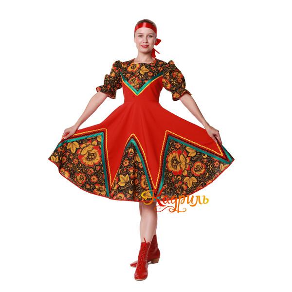 Русское народное платье с цветами. Рис. 3