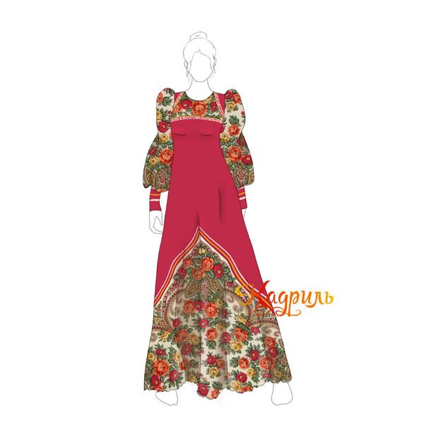 Платье с русским народным платком. Рис. 1