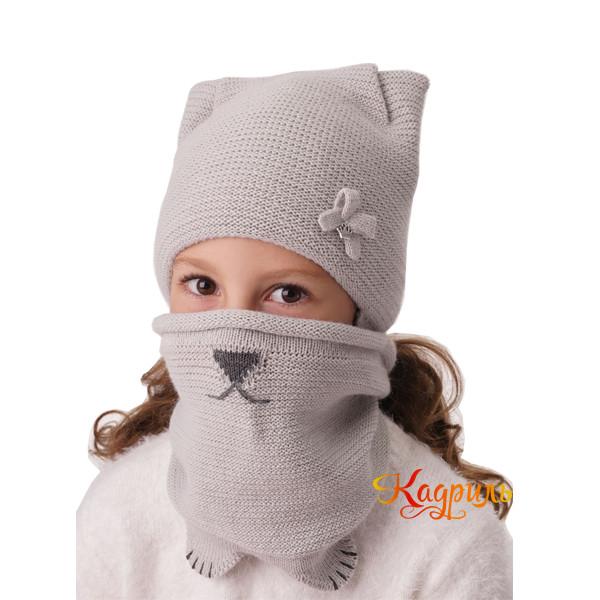 Шапка для девочки зимняя с ушками. Рис. 1