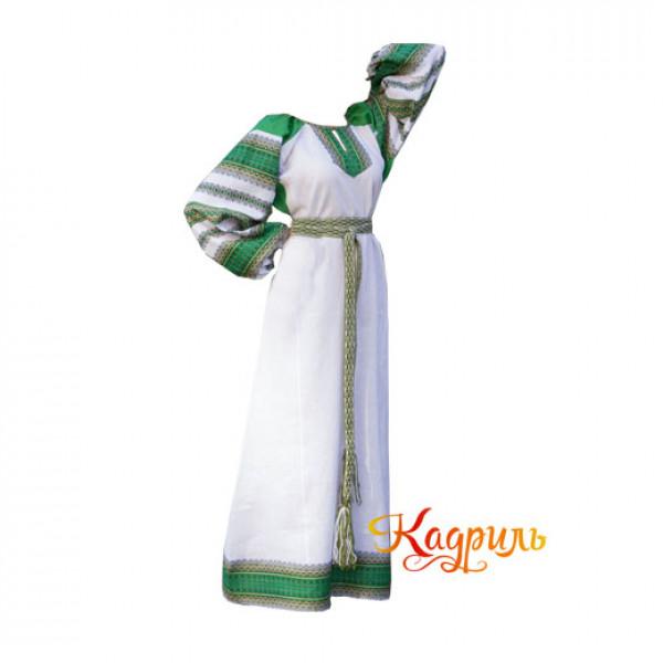 Платье славянское Ася зелёно-белое. Рис. 1